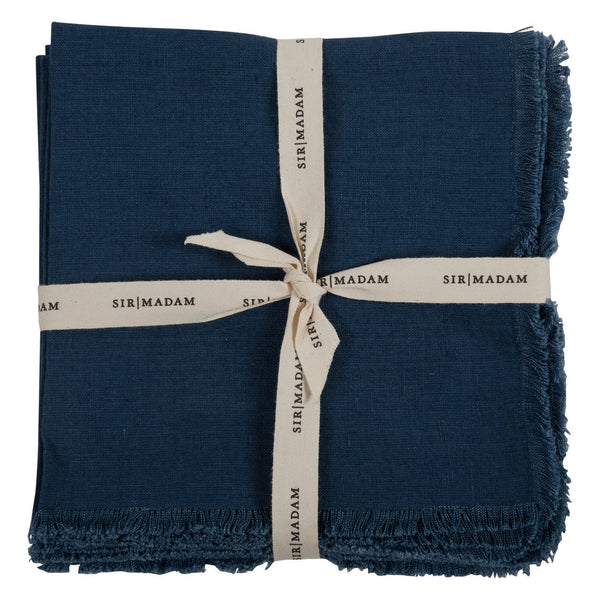 SOLID LINEN NAPKINS, INDIGO, SET OF 4 - CityBarnCountryPenthouse