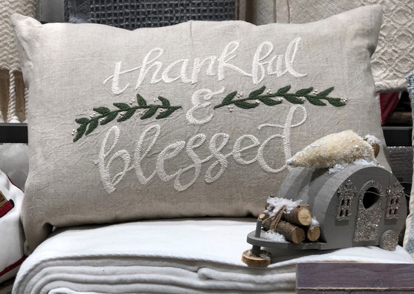 "THANKFUL & BLESSED EMBROIDERED PILLOW 16""X24"" - CityBarnCountryPenthouse"