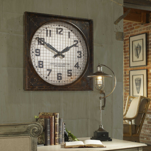Warehouse Clock with Grill - City Barn | Country Penthouse