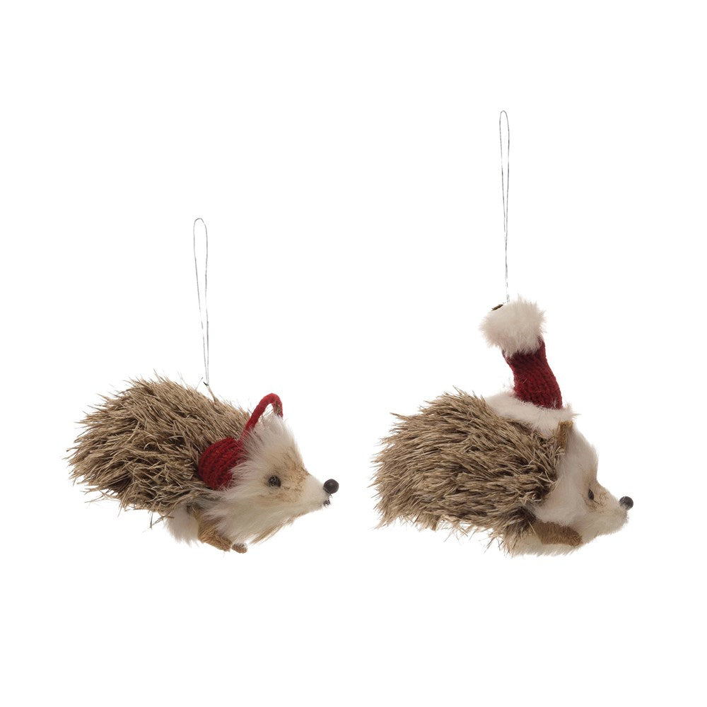 Faux Fur Hedgehog Ornament - CityBarnCountryPenthouse