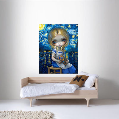 Alice In A Van Gogh Nocturne - Fabric Banner