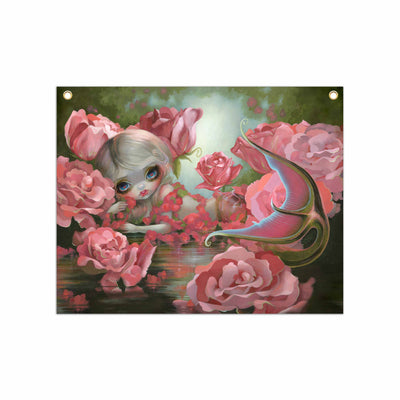 Mermaid With Roses - Fabric Banner - artistvsart
