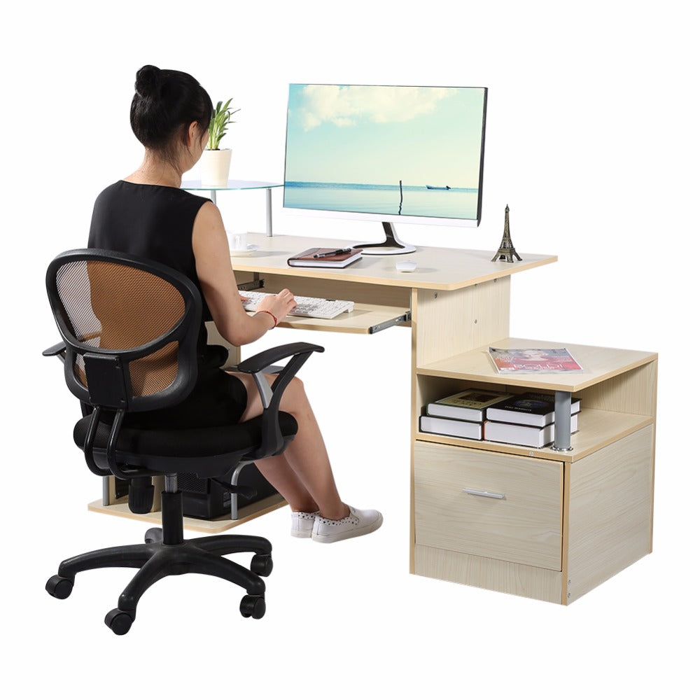 Wood Computer desk table office workstation study writing PC ...