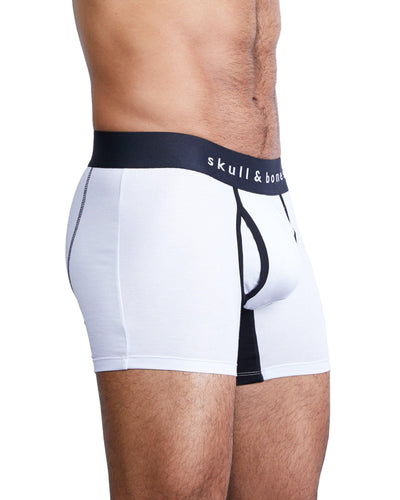 Just the Bones Boxer Brief White-boxer briefs-Skull & Bones, Inc.