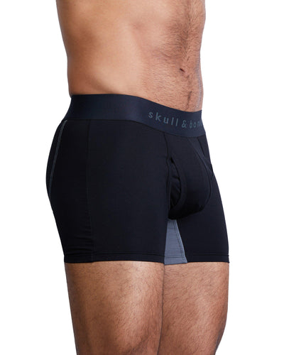 Just the Bones Boxer Brief Black-boxer briefs-Skull & Bones, Inc.