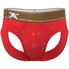Martini Shaker Print Peek A Boo Brief in Red with Gold Foil