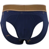 Martini Print Peek A Boo Brief in Blue with Gold Foil