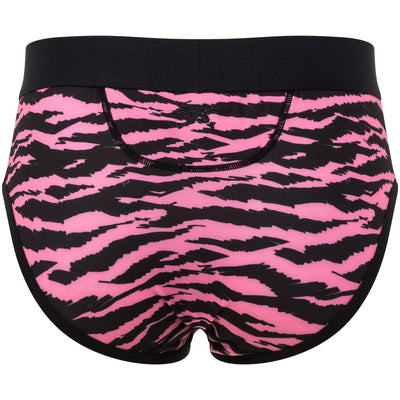 Tiger Print Brief in Pink & Black