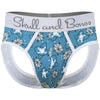 Mid-Century Modern Print Peek-a-Boo Brief in Blue