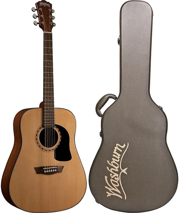 3caee55ff8 Washburn AD5K Apprentice 5 Series Dreadnought 6-String Acoustic Guitar w/Hard  Case -