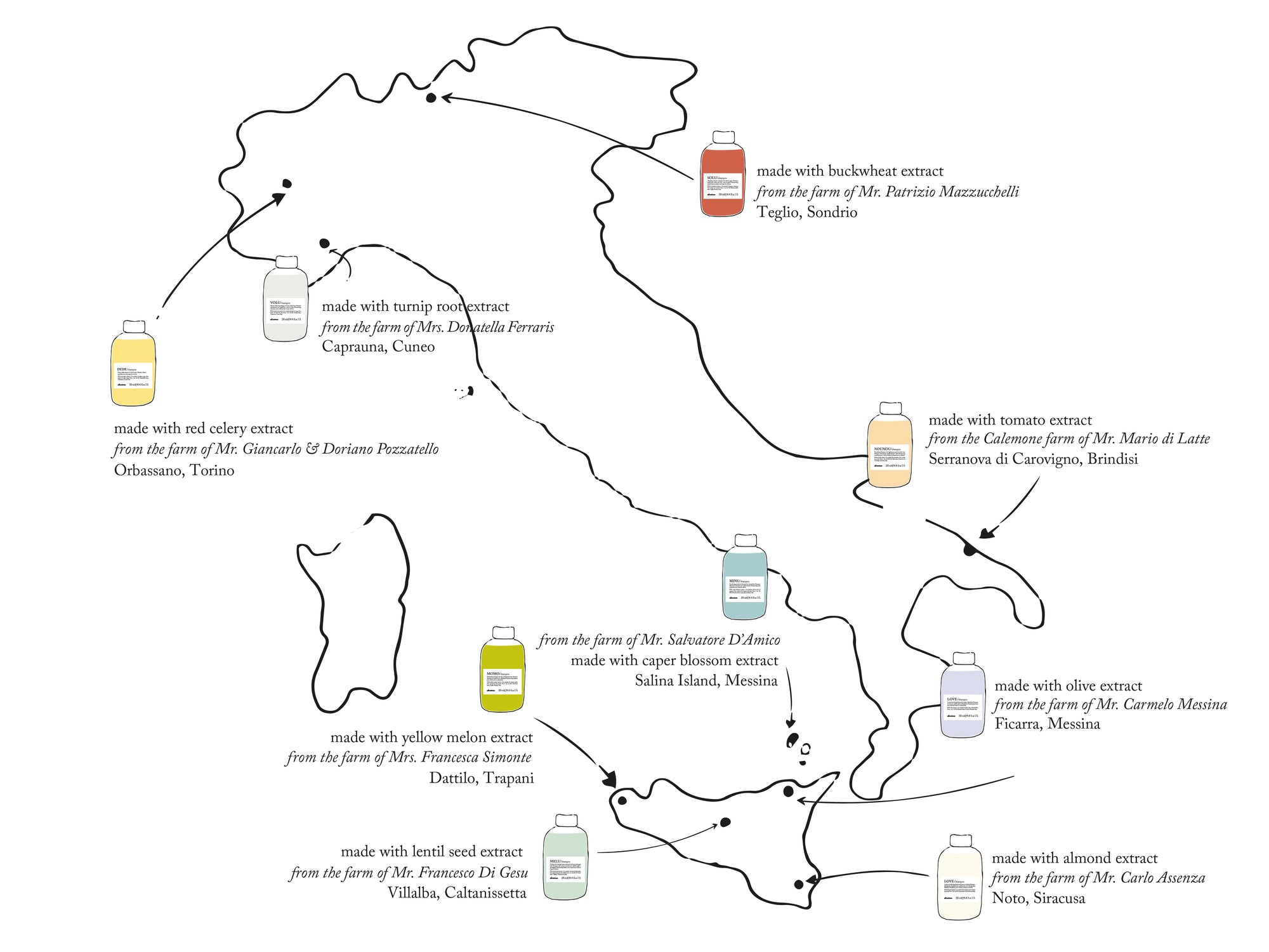 A map at where Slow Food ingredients come from