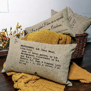 READY TO SHIP Anne of Green Gables Card Catalog Pillow Cover