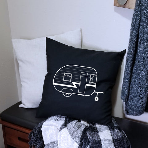 Black Camper Pillow Cover