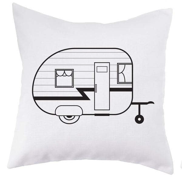 White Camper Pillow Cover