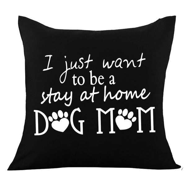 Black Dog Mom Pillow Cover