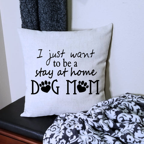 Linen Dog Mom Pillow Cover