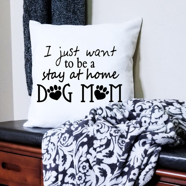 White Dog Mom Pillow Cover