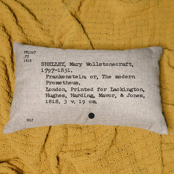Frankenstein Card Catalog Pillow Cover