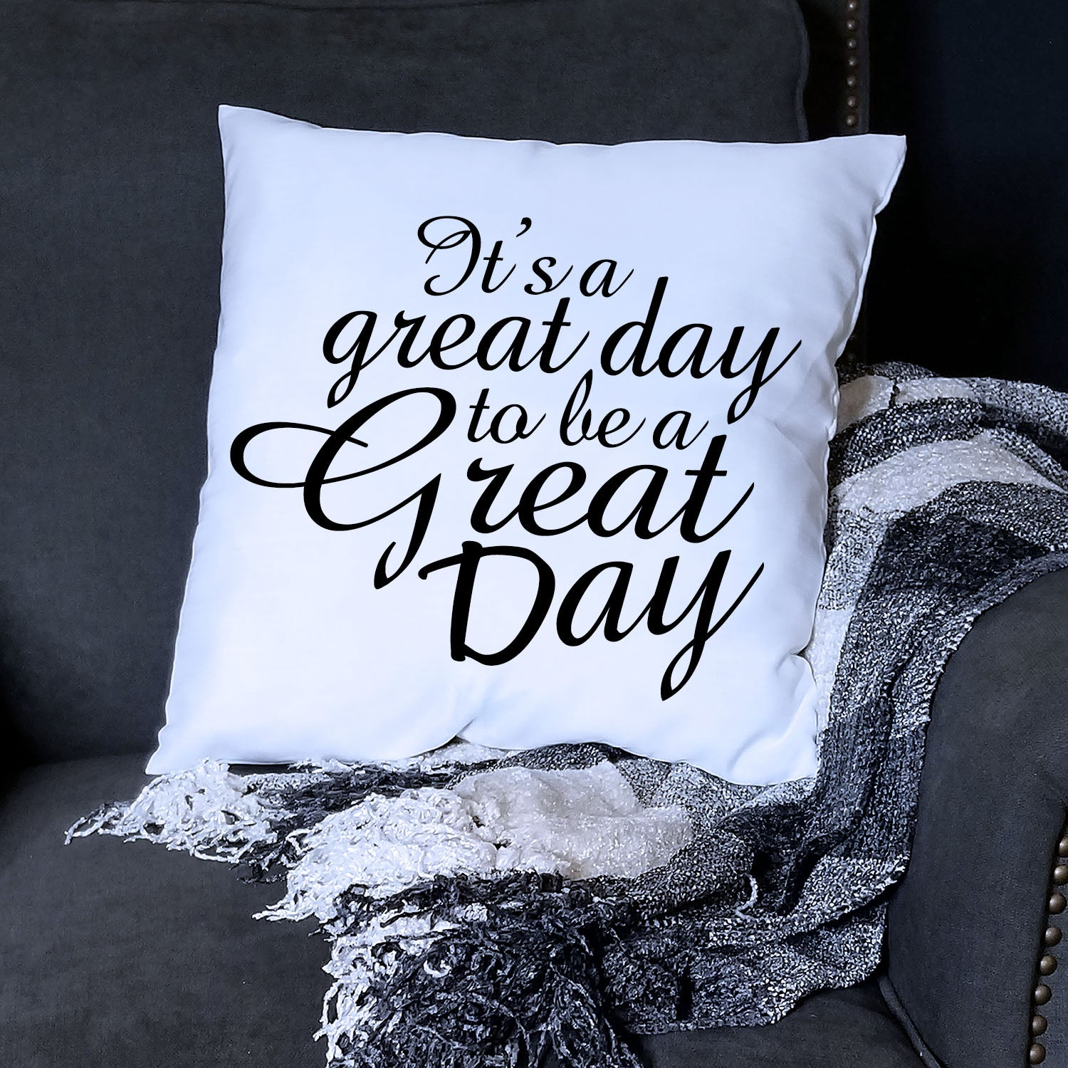White Great Day Pillow Cover