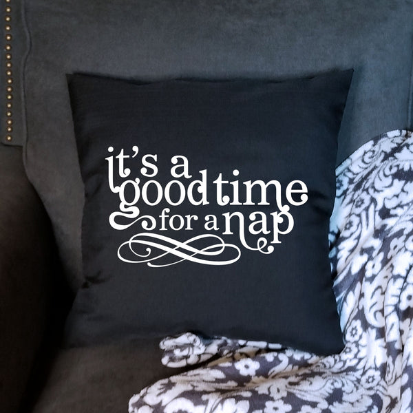 Black Nap Time Pillow Cover