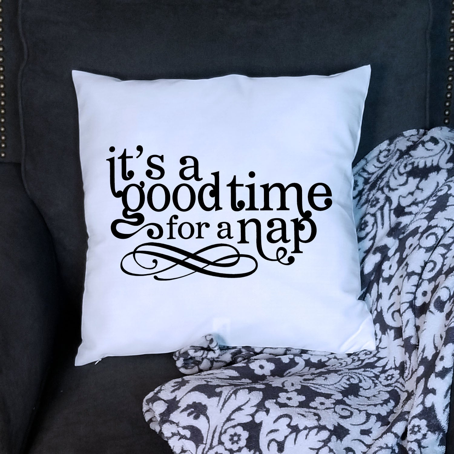 White Nap Time Pillow Cover