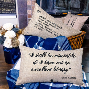 Pride and Prejudice Card Catalog Pillow Cover