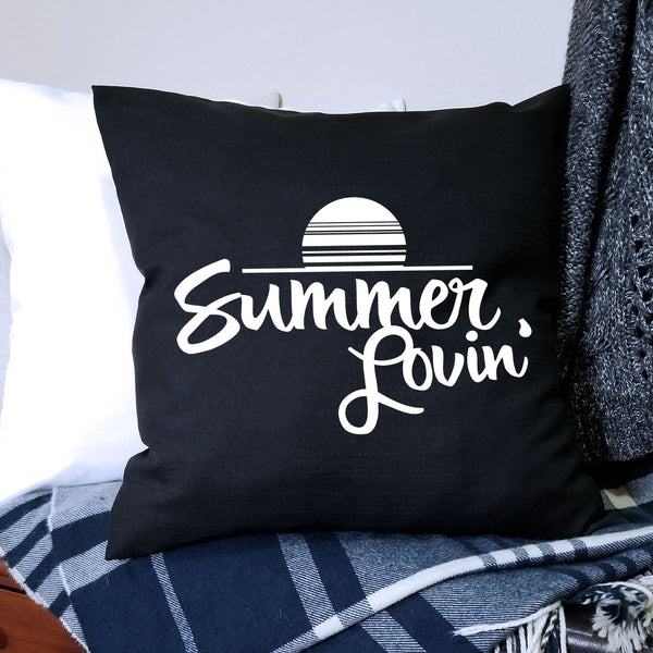 Black Summer Lovin Pillow Cover
