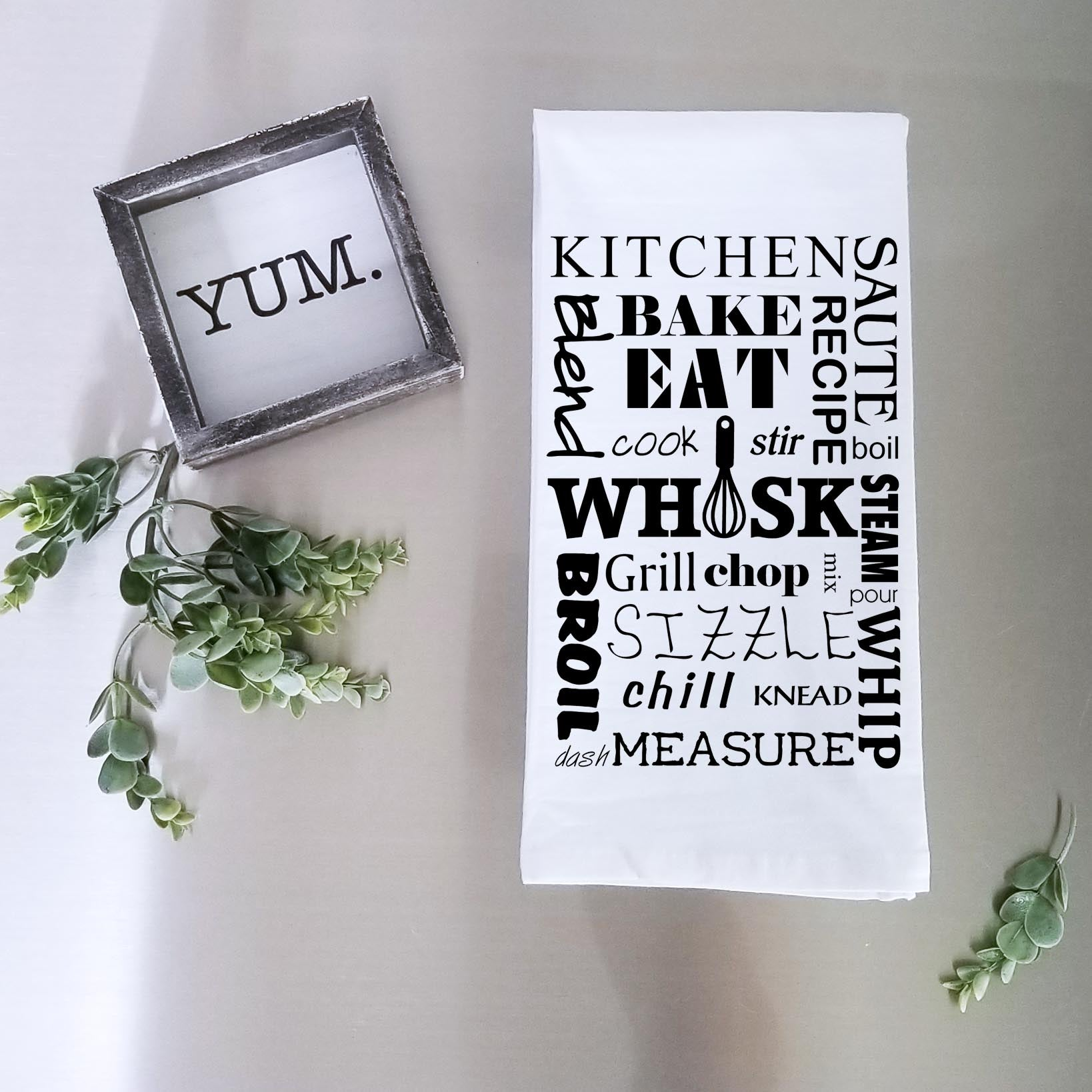 Kitchen Word Collage Tea Towel