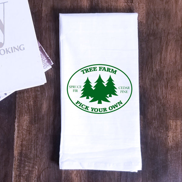 Reversible Apple/Tree Farm Tea Towel