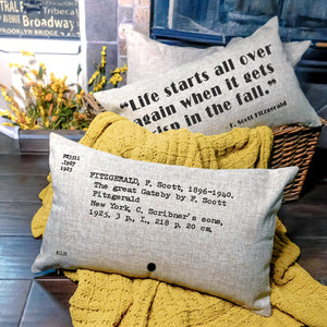 READY TO SHIP The Great Gatsby Card Catalog Pillow Cover
