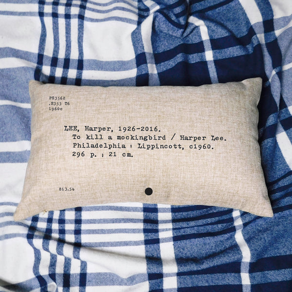 To Kill a Mockingbird Card Catalog Pillow Cover
