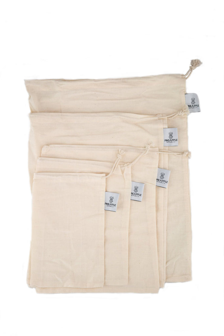 Eco Friendly Cotton Muslin Produce Bags - Set of 5 Assorted Sizes