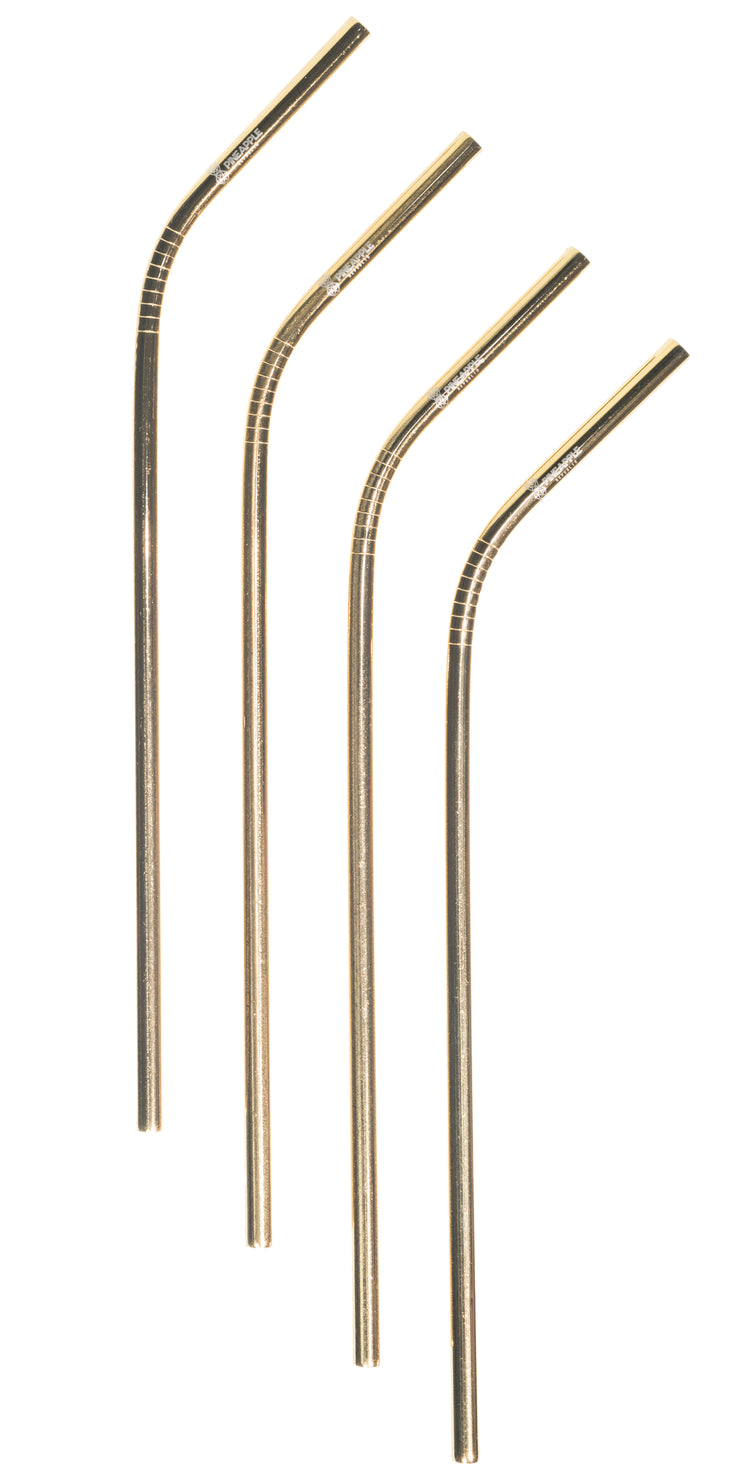 Gold, Stainless Steel Reusable Straw,  6mm set of 4