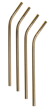 Gold, Stainless Steel Reusable Straw, 8mm set of 4
