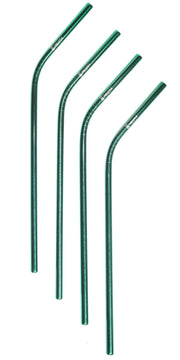 green, Stainless Steel Reusable Straw,  6mm set of 4