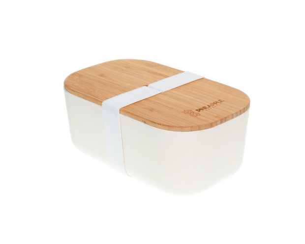 Large Bamboo Lunch Box, White