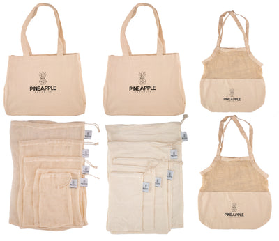 100% Plastic Free Eco Shopping Bag Set - 14 pieces