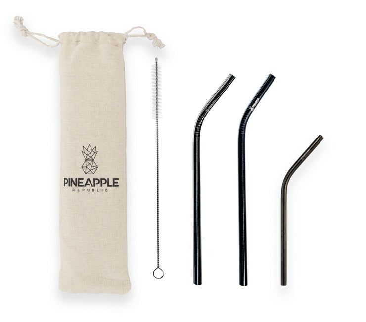 Black Stainless Steel Reusable Eco Straws