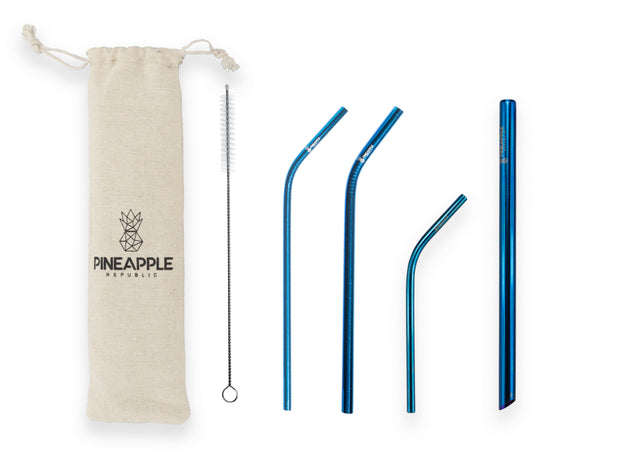 Blue Stainless Steel Reusable Eco Straws