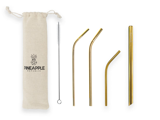 Gold Stainless Steel Reusable Eco Straws