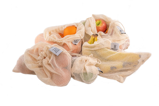 Eco Friendly Mesh Produce Bags - Set of 5 Assorted Sizes