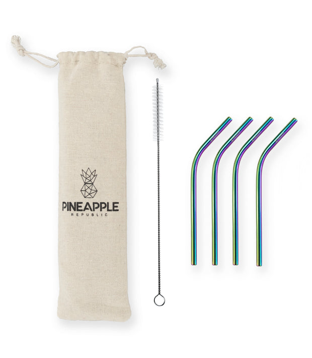 Rainbow Stainless Steel Reusable Eco Straws