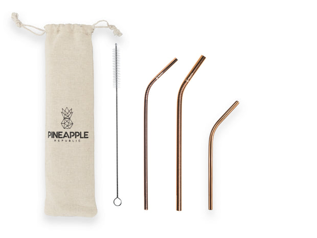Rose Gold Stainless Steel Reusable Eco Straws
