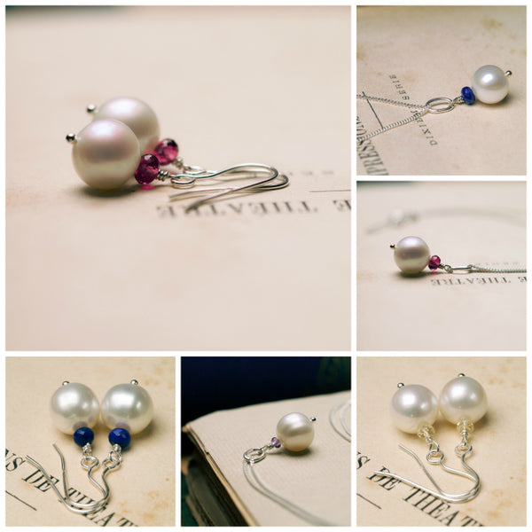 selection of ivory pearl jewellery with a variety of colourful gemstones