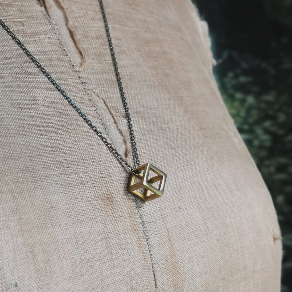geometric brass necklace
