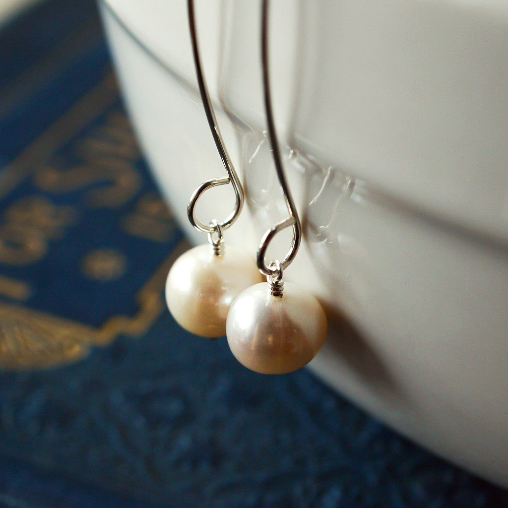 Earrings - Long Pearl Earrings