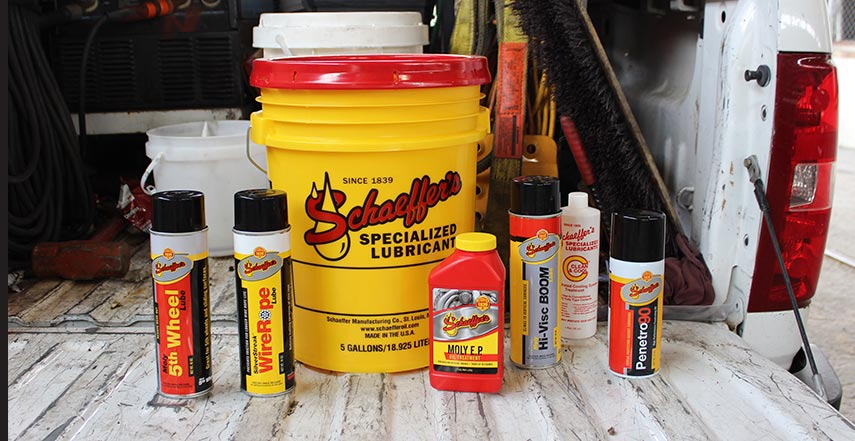 A range of Schaeffer Oil specialized lubricants and degreasers.
