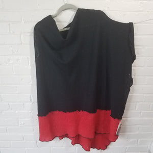 Fine Merino Asymmetrical Cape in Black with Red Chili - Maine Yarn & Fiber Supply