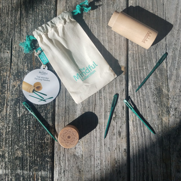 The Mindful Teal Wooden Darning Needles In Beech Wood Container by Knitter's Pride