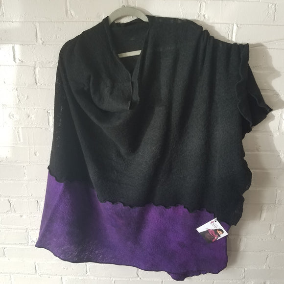 Fine Merino Asymmetrical Cape in Black with Purple Storm - Maine Yarn & Fiber Supply
